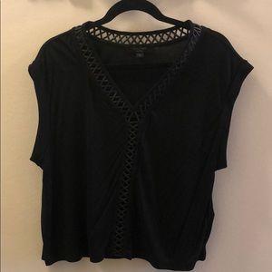 ALLSAINTS Black T-shirt with leather detail